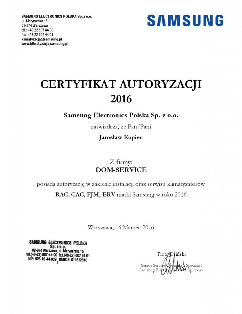 certyfikatSamsung